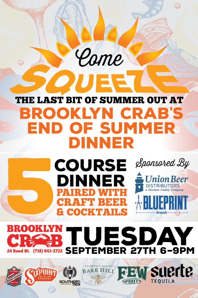 Brooklyn crab beer dinner union beer distributors from blueprint brands as they team up to squeeze the last bit out of summer with a 5 course dinner paired with craft beer and cocktails malvernweather Gallery