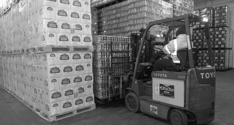 Beer in warehouse with forklift